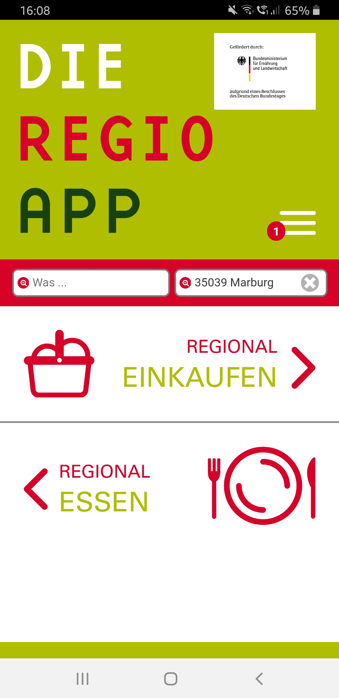 Screenshot RegioApp